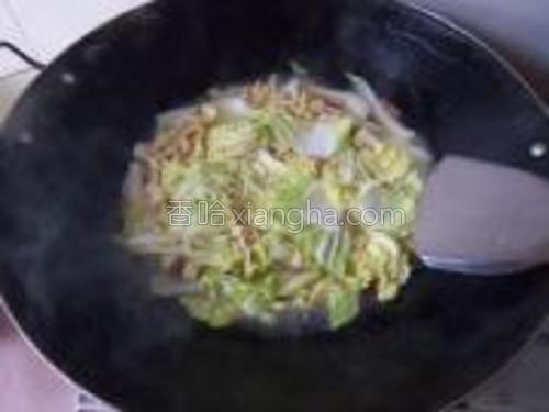 最后下千张和菜叶煮至断生即可。