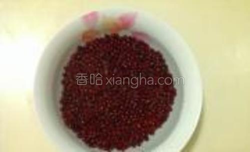 红豆用清水浸泡4个小时。