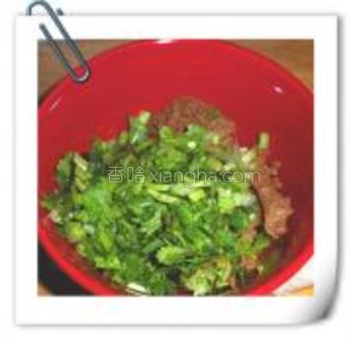 香菜放入调好的蘸料中,用来蘸食各种食材。