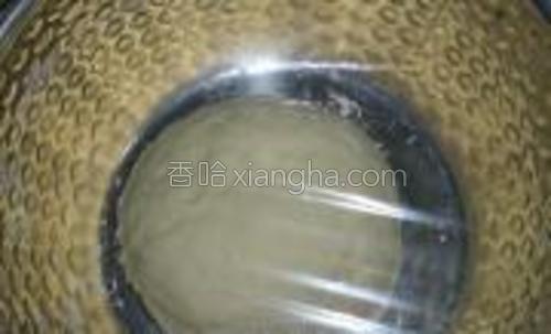 再揉成光滑的面团,包上保鲜膜放温暖处进行发酵。
