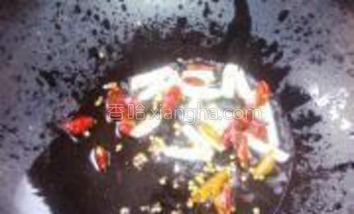 锅内放适量的油,油热后,姜蒜,红尖椒下锅,炒香。
