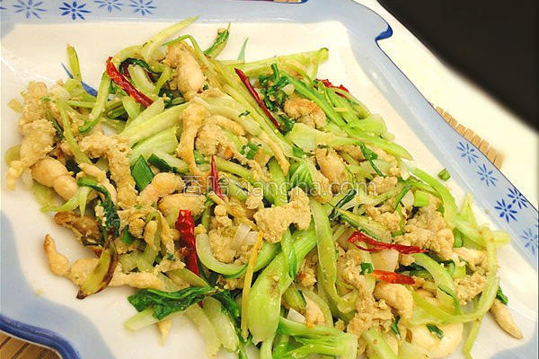 青菜梗炒豆丹的做法