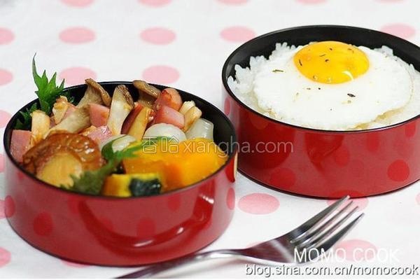 红烧扇贝与甜煮南瓜便当的做法