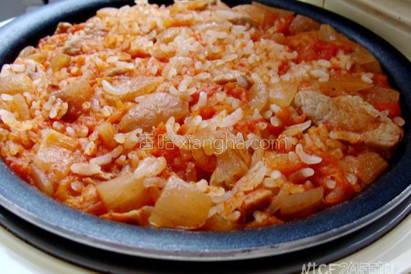 番茄里脊肉焖饭的做法