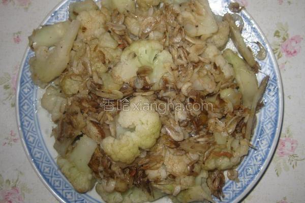 花菜炒虾的做法