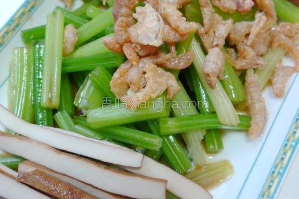 海米香芹拌豆干的做法