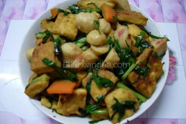韭菜炒豆腐的做法