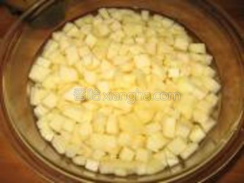苹果去皮,切小丁,在淡盐水里泡一下,妨氧化,然后沥干水分。