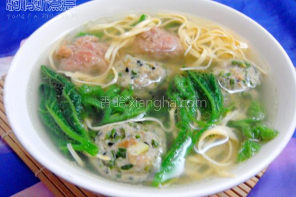 南瓜苗肉丸汤的做法