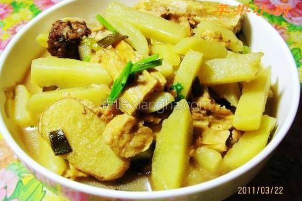 土豆炖腐竹的做法