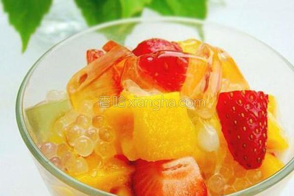 奶香西米水果捞的做法