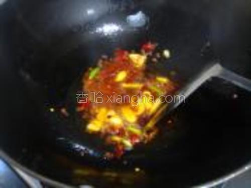 锅里放油,爆香蒜片放入干椒花椒爆出香味,放入一匙豆瓣炒出红油。