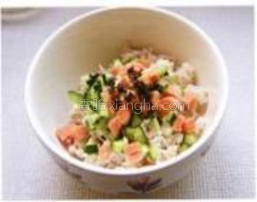 薄荷叶、黄瓜、火腿肠、洋葱切碎加少许盐,放入碗中与米饭拌匀。