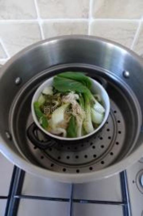把菜和虾皮一起放在乌冬面上面,冷水入锅,大火蒸10分钟左右至面熟