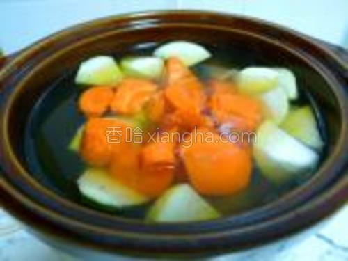 开盖放入节瓜块、红萝卜块,再煲一个钟。关闭电源,加盐、鸡粉适量即可。