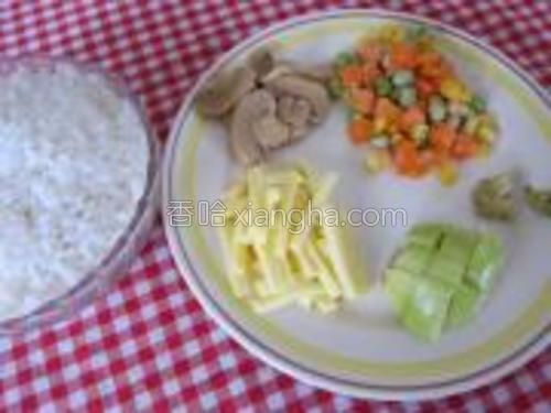 白饭及其它用料预备好待用。