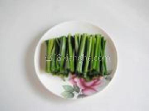 韭菜洗净切成和豆芽差不多长短的段。