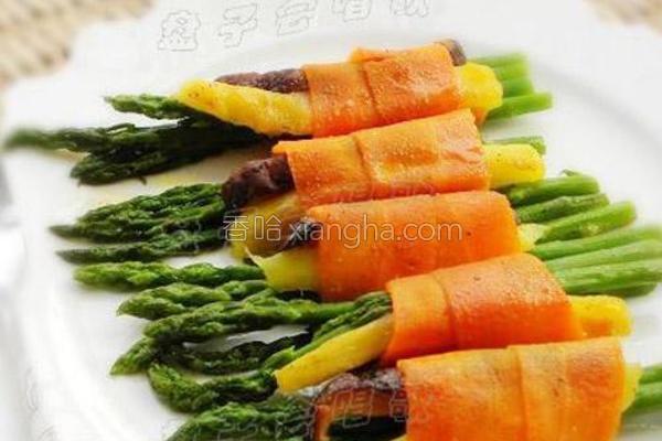 芒果芦笋素卷的做法