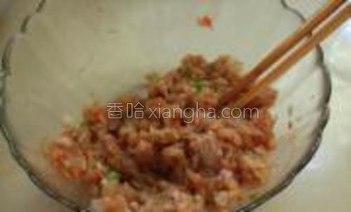 把鸡肉,洋葱,胡萝卜倒入调好的腌料搅拌均匀成肉糊。