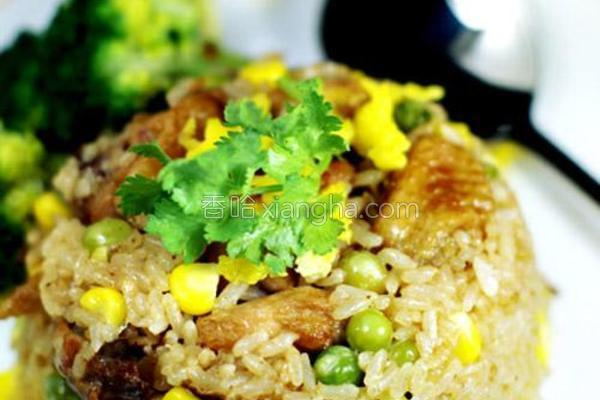 彩蔬烩鸡油饭的做法