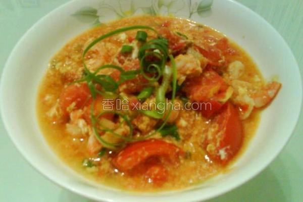 番茄虾仁炒蛋的做法