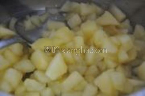 苹果削皮、去核,切成小丁。将所有苹果酱所需的材料倒入一只小锅中。中火加热,不停搅拌,收汁。直到苹果变得非常柔软,锅底不在有大量的水分,关火。