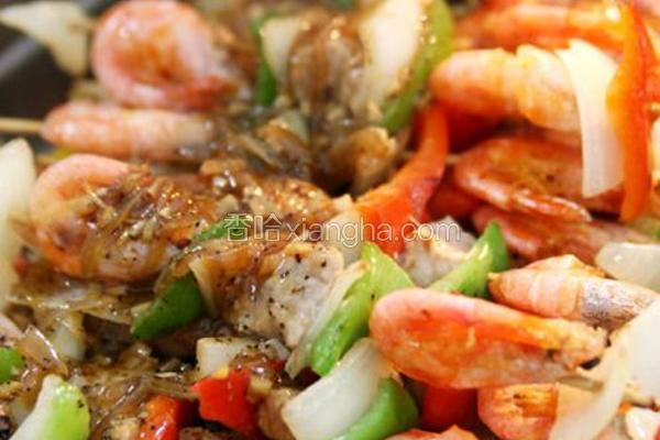 黑胡椒北极虾串