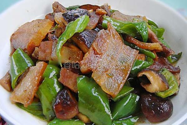 青椒香菇炒腊肉
