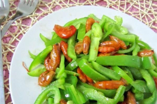 菜椒炒虾米