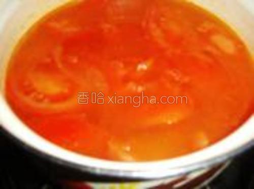 在煸好的番茄中加适量的水。