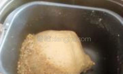 中间加入黄油,碧根果去皮压碎,放到面包机里。