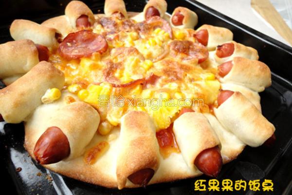 菠萝火腿花边比萨的做法