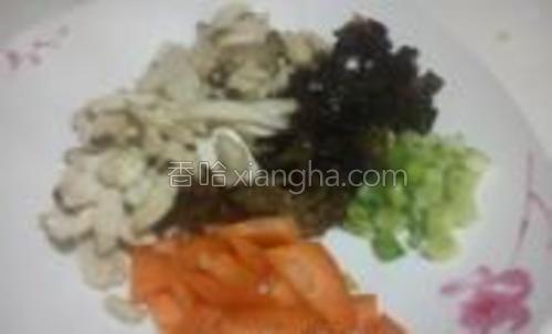 迷你杏鲍菇切片焯水,木耳切小条,胡萝卜切片,小葱切成末。