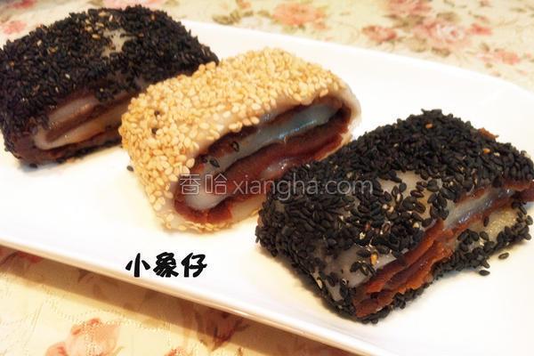 芝麻红豆糯米卷的做法