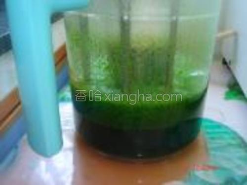 菠菜叶加适量水榨汁。