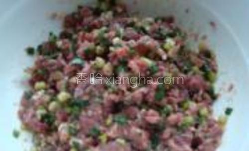 把那些切碎的陷都拌在一起,加入胡椒粉,花椒粉,酱油,鸡精,姜葱,盐香油搅拌均匀。葱花留一些