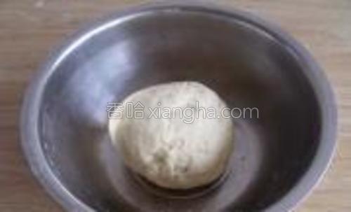 用手或者面包机把面揉成团,盖上保鲜膜或者盖个碗,放置10分钟,再继续揉。