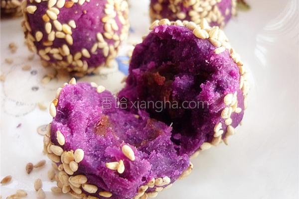 香甜豆沙紫薯球的做法