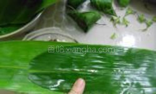 粽叶用温水洗净,取两片粽叶一前一后重叠在一起