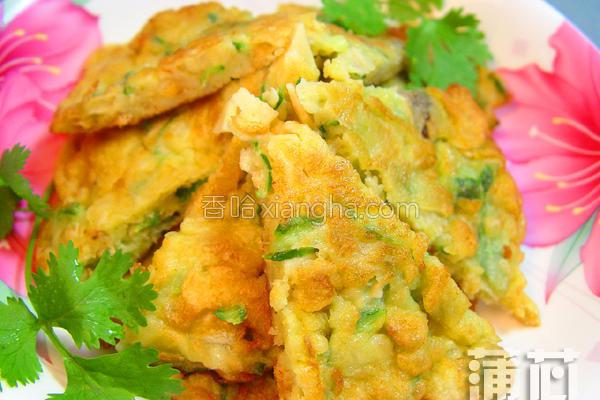 丝瓜虾米煎饼的做法