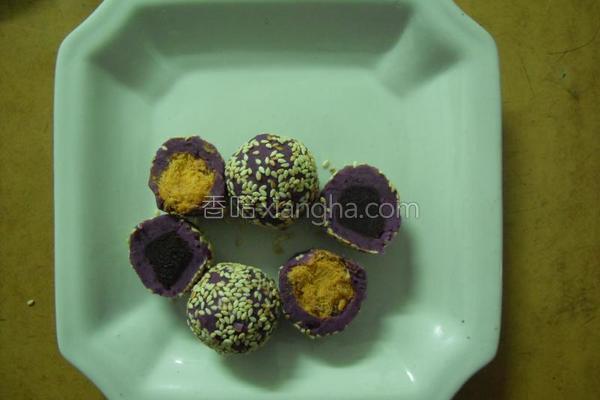 紫薯肉松团的做法