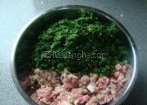荠菜剁碎和肉糜合并