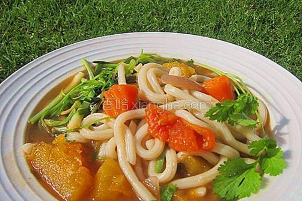 杂菜汤煮乌冬面的做法