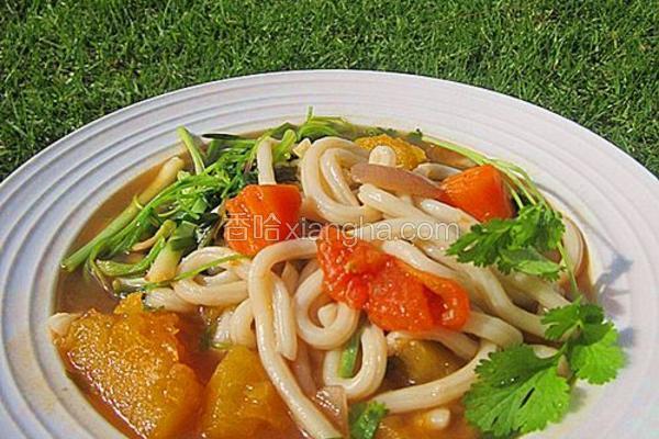 杂菜汤煮乌冬面
