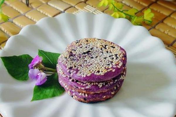 双麻紫薯糯米饼