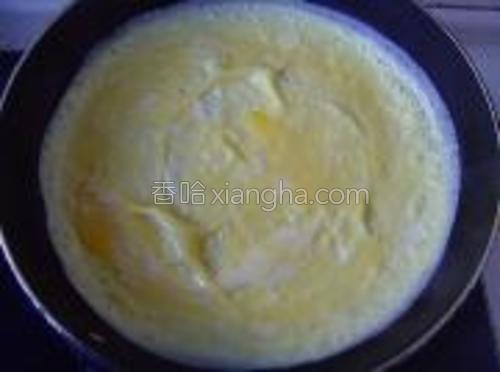 剩余鸡蛋磕入碗中打散,加适量盐,搅匀于锅中摊成蛋皮。