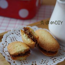 巧克力榛子醬杏仁夾心蛋白餅干的做法[圖]
