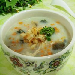 鸡丝皮蛋蛤蜊干大米粥的做法[图]