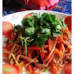 红萝卜丝炒牛肉丝的做法[图]