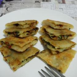 香辣豉香韭菜油渣饼的做法[图]